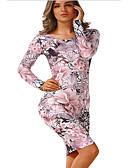 abordables Camisas y Camisetas para Mujer-Mujer Delgado Vaina Vestido - Estampado, Floral Alta cintura Sobre la rodilla