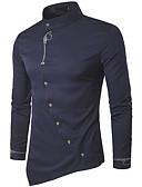 זול טישרטים לגופיות לגברים-אחיד צווארון עומד(סיני) סגנון רחוב כותנה, חולצה - בגדי ריקוד גברים / שרוול ארוך