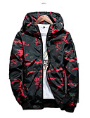 cheap Men's Jackets & Coats-Men's Ordinary Jacket-Camouflage Hooded