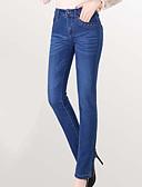 זול מכנסיים לנשים-בגדי ריקוד נשים כותנה / ספנדקס רזה ג'ינסים מכנסיים - מותניים גבוהים אחיד / קיץ