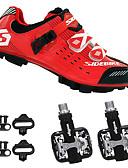 preiswerte Triathlon Bekleidung-SIDEBIKE Erwachsene Fahrradschuhe mit Pedalen & Pedalplatten / Mountainbikeschuhe Karbon Polsterung Radsport Schwarz / rot Herrn