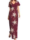 رخيصةأون ملابس ليلية نسائية-فستان نسائي ثوب ضيق أساسي - قطن طويل للأرض نحيل لون سادة خصر عالي منخفضة V رقبة مناسب للحفلات / مثير
