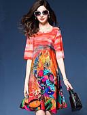 זול שמלות נשים-עד הברך דפוס, גיאומטרי - שמלה ישרה משוחרר בסיסי ליציאה בגדי ריקוד נשים