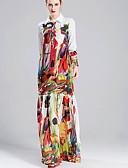 זול שמלות נשים-צווארון חולצה מקסי קולור בלוק - שמלה נדן מידות גדולות בסיסי חגים בגדי ריקוד נשים