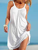 cheap Women's Sexy Clothing-Women's Beach Basic Shift Dress - Solid Colored White Mini Strap