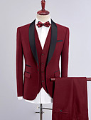cheap Men's Blazers & Suits-men's daily work simple fall regular suits, solid peaked lapel polyester