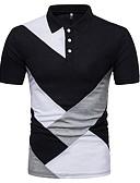 זול בגדי ים לגברים-קולור בלוק צווארון חולצה פעיל / בסיסי / סגנון סיני כותנה, Polo - בגדי ריקוד גברים
