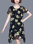 povoljno Ženske haljine-Žene Veći konfekcijski brojevi Širok kroj Šifon Haljina - Print, Cvjetni print Asimetričan