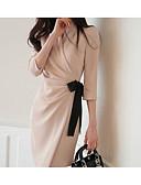זול שמלות נשים-V עמוק מותניים גבוהים עד הברך מפוצל, אחיד - שמלה צינור נדן רזה כותנה ליציאה בגדי ריקוד נשים