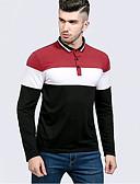 ieftine Maieu & Tricouri Bărbați-Bărbați Guler Cămașă Polo Șic Stradă - Dungi De Bază / Manșon Lung / Zvelt