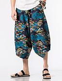 tanie Męskie spodnie i szorty-Męskie Boho Spodnie szerokie nogawki Spodnie - Kolorowy blok Niebieski / Lato