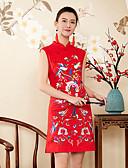 זול שמלות נשים-עומד רקום, פרחוני - שמלה גזרת A נדן רזה סגנון סיני בגדי ריקוד נשים