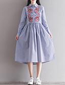 זול שמלות נשים-צווארון חולצה מידי פסים - שמלה נדן משוחרר בגדי ריקוד נשים / קיץ