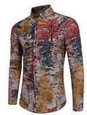 ieftine Maieu & Tricouri Bărbați-Bărbați Cămașă Bumbac Șic Stradă - Bloc Culoare De Bază / Manșon Lung / Zvelt