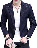 cheap Men's Shirts-Men's Active Business Casual Slim Blazer-Print Color Block Notch Lapel / Long Sleeve