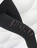 cheap Leggings-Women's Sports Basic Legging - Solid Colored, Lace / Cut Out Mid Waist Black M L XL