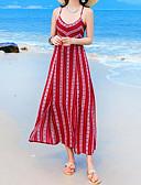 tanie Print Dresses-Damskie Wyjściowe Boho Luźna / Szyfon Sukienka - Geometric Shape W serek / Pasek Wysoka talia Midi / Lato