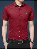 baratos Camisetas & Regatas Masculinas-Homens Camisa Social Sólido Delgado / Manga Longa
