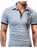 baratos Pólos Masculinas-Homens Polo - Esportes Activo Estampado, Letra Colarinho de Camisa Delgado / Manga Curta