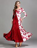 זול שמלות נשים-ריקודים סלוניים שמלות בגדי ריקוד נשים הדרכה / הצגה קטיפה דוגמא \ הדפס שרוול ארוך גבוה שמלה