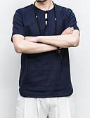 tanie Męskie koszule-T-shirt Męskie Wzornictwo chińskie Len Okrągły dekolt Szczupła - Solidne kolory / Krótki rękaw
