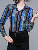 זול חולצות לגברים-פסים צווארון חולצה בסיסי / סגנון רחוב חולצה - בגדי ריקוד נשים / אביב