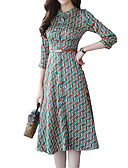 cheap Women's Dresses-Women's Daily Holiday Sophisticated Slim Sheath Dress - Color Block Print Stand Spring Green L XL XXL
