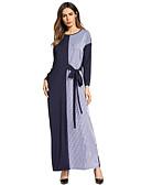 זול שמלות נשים-בגדי ריקוד נשים בסיסי / בוהו מכנסיים - פסים / קולור בלוק כחול נייבי / מקסי