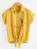 זול חולצה-חיה צווארון חולצה וינטאג' חולצה - בגדי ריקוד נשים