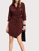 זול שמלות נשים-צווארון חולצה מותניים גבוהים מעל הברך אחיד - שמלה נדן בסיסי חגים בגדי ריקוד נשים / אביב / קיץ