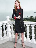 baratos Vestidos Femininos-Mulheres Delgado Evasê Bainha Vestido - Básico, Estampa Colorida Colarinho Chinês Cintura Alta