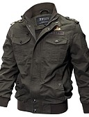 cheap Men's Jackets & Coats-Men's Military Plus Size Cotton Jacket-Solid Colored,Embroidered Stand