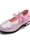 preiswerte Hochzeitskleider-Mädchen Schuhe Kunstleder Frühling Komfort / Schuhe für das Blumenmädchen High Heels Strass / Schleife / Glitter für Silber / Blau / Rosa