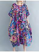 preiswerte Damen Kleider-Damen Grundlegend Baumwolle überdimensional Tunika Kleid Solide Midi Niedrige Taillenlinie / Sommer
