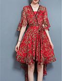 ieftine Rochii de Damă-Pentru femei Ieșire Boho Zvelt Swing Rochie Floral În V Talie Înaltă Lungime Genunchi Roșu