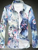 זול חולצות לגברים-פרחוני צווארון עומד(סיני) רזה בסיסי כותנה, חולצה - בגדי ריקוד גברים / שרוול ארוך