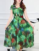זול שמלות נשים-צווארון מרובע דפוס, פרחוני - שמלה נדן שיפון רזה מידות גדולות בוהו בגדי ריקוד נשים