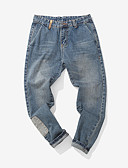 tanie Męskie spodnie i szorty-Męskie Luźna Jeansy Spodnie - Nadruk, Solidne kolory