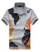 tanie Męskie koszule-Puszysta Polo Męskie Wzornictwo chińskie Kołnierzyk koszuli Kwiaty / Geometric Shape / Krótki rękaw