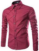 رخيصةأون قمصان رجالي-رجالي قميص ياقة كلاسيكية أساسي لون سادة / كم طويل