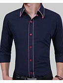 tanie Męskie koszule-Koszula Męskie Bawełna Praca Solidne kolory / Długi rękaw
