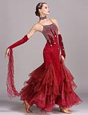 お買い得  ソシアルダンスウェア-ボールルームダンス ドレス 女性用 訓練 性能 ベルベット クリスタル / ラインストーン ノースリーブ ハイウエスト ドレス ブレスレット Neckwear