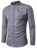 tanie Męskie koszule-Koszula Męskie Bawełna Szczupła - Kratka / Długi rękaw