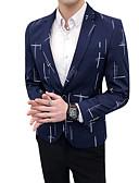 זול גברים-ג'קטים ומעילים-גיאומטרי דש קלאסי רזה בלייזר-בגדי ריקוד גברים,דפוס / שרוול ארוך / עבודה