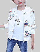 cheap Girls' Jackets & Coats-Girls' Daily Print Jacket & Coat, Polyester Spring Fall Long Sleeves Casual Beige
