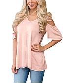 Χαμηλού Κόστους Νυφικά-Γυναικεία T-shirt Αργίες Ενεργό / Βασικό - Βαμβάκι Μονόχρωμο Φαρδιά Κοφτό / Άνοιξη / Καλοκαίρι