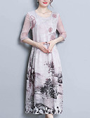 cheap Women's Dresses-Women's Going out Chinoiserie Silk Loose A Line Dress - Floral Print
