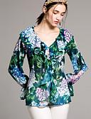 billige Jakke & Trench Coat-V-hals Dame - Blomstret Basale Skjorte