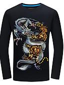 billige T-skjorter og singleter til herrer-Bomull Tynn Rund hals T-skjorte Herre - Dyr, Trykt mønster Aktiv / Grunnleggende Drage / Langermet