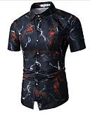 baratos Camisolas e Pijamas Femininos-Homens Camisa Social Temática Asiática Floral